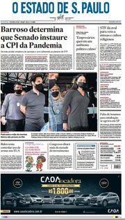 Capa do Jornal O Estado de S. Paulo Edição 2021-04-09