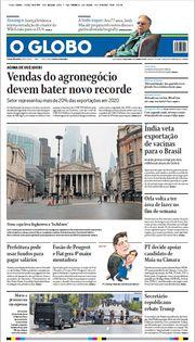Capa do Jornal O Globo Edição 2021-01-05