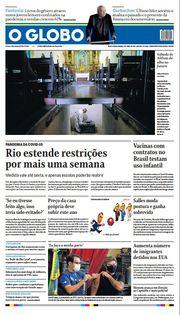 Capa do Jornal O Globo Edição 2021-04-03