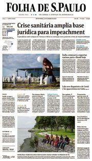 Capa do Jornal Folha de S. Paulo Edição 2021-01-22
