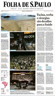 Capa do Jornal Folha de S. Paulo Edição 2021-01-02