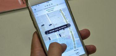 Aplicativo Uber acessado pelo smartphone