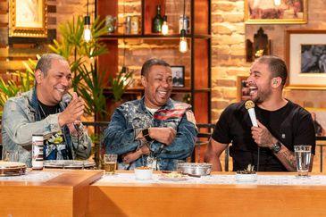 Chrigor, Márcio Art e Diogo Nogueira se divertem na gravação do Samba na Gamboa