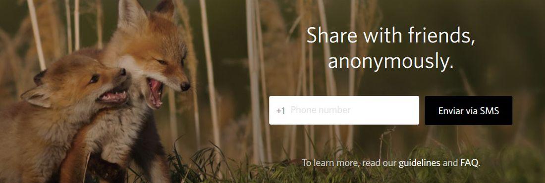 Site oficial do Secret convida usuário a compartilhar mensagens anonimamente com amigos