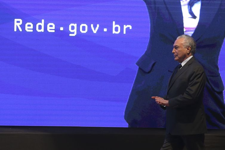 O presidente Michel Temer participa da cerimônia de lançamento da Rede Nacional de Governo Digital (Rede Gov.Br) e da abertura da IV Semana de Inovação em Gestão Pública, no Instituto Serzedello Corrêa.