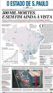 Capa do Jornal O Estado de S. Paulo Edição 2021-06-20