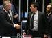 Brasília - O presidente do Senado, Renan Calheiros E), e o juiz federal Sérgio Moro, durante debate do Projeto de Lei 280/2016, sobre abuso de autoridade  (Fabio Rodrigues Pozzebom/Agência Brasil)