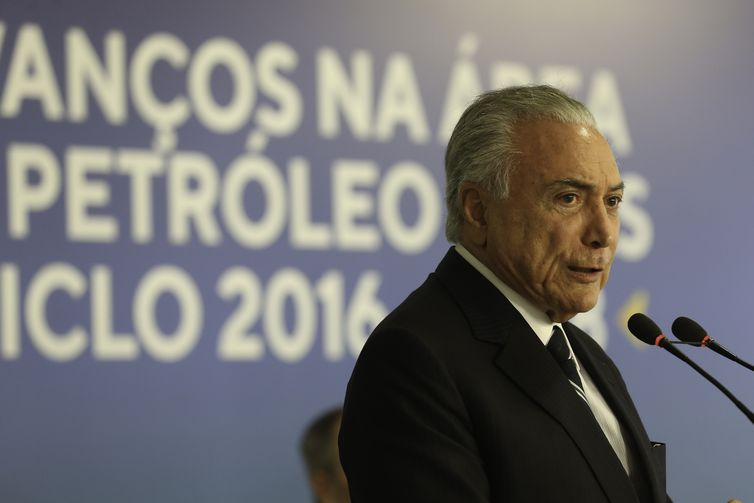 - O presidente Michel Temerdurante a cerimônia de assinatura de sete contratos de concessão do pré-sal-  strong Fabio Rodrigues Pozzebom/Agência Brasi