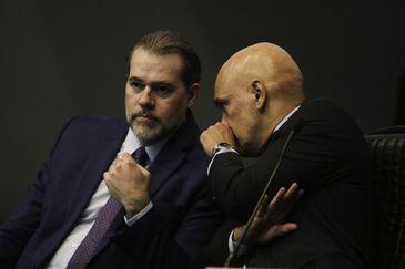 O presidente do Supremo Tribunal Federal (STF), Dias Toffoli, e o ministro do STF Alexandre de Moraes durante abertura do Seminário Políticas Judiciárias e Segurança Pública.