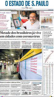 Capa do Jornal O Estado de S. Paulo Edição 2020-04-01