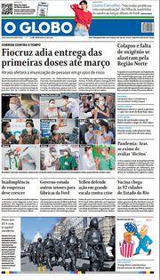 Capa do Jornal O Globo Edição 2021-01-20