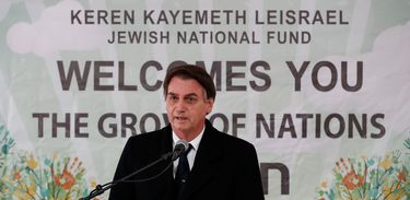 Presidente da República, Jair Bolsonaro, durante cerimônia alusiva ao plantio de muda de oliveira no Bosque das Nações, em Jerusalém, Israel.