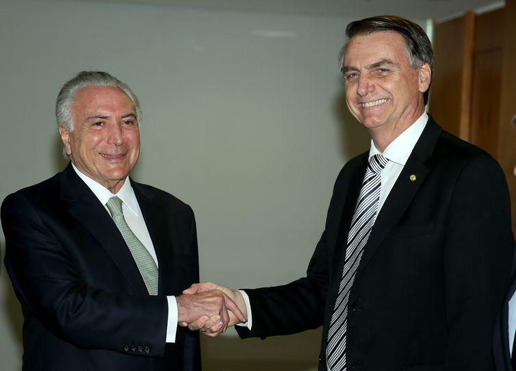 O presidente Michel Temer se reúne com o presidente eleito Jair Bolsonaro, no Palácio do Planalto.