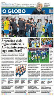 Capa do Jornal O Globo Edição 2021-09-06