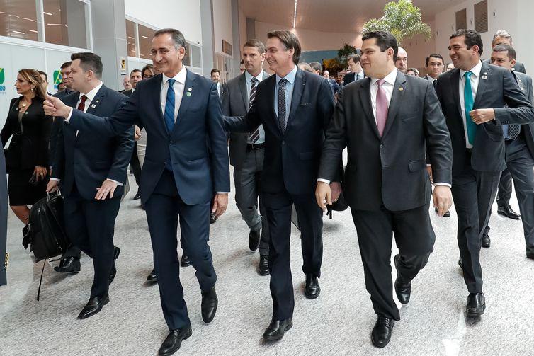 O presidente Jair Bolsonaro durante inauguração do novo terminal de passageiros do Aeroporto Internacional de Macapá.