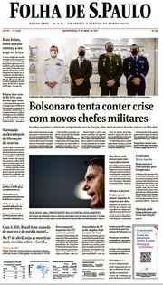 Capa do Jornal Folha de S. Paulo Edição 2021-04-01