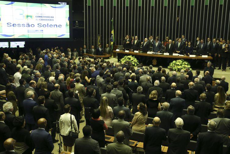 O presidente eleito Jair Bolsonaro, participa no Congresso Nacional da sessão solene em comemoração aos 30 anos da Constituição Federal.