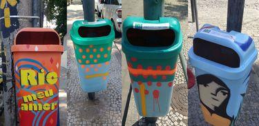 Rio de Janeiro - Lixeiras que integram a ação Lixeira Parade, do movimento Rio Eu Amo Eu Cuido (Divulgação)