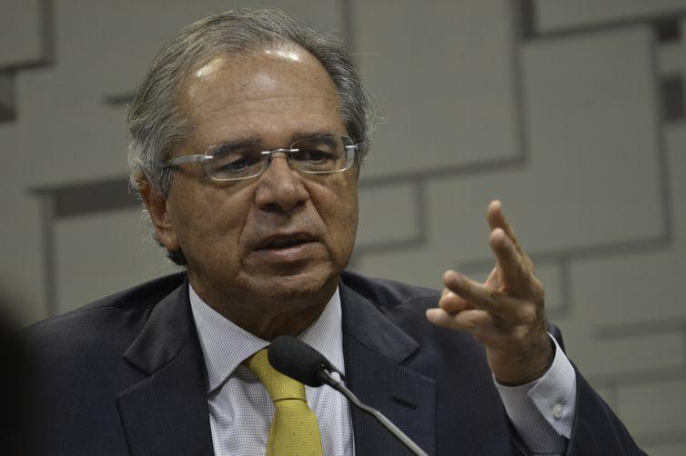 O ministro da Economia, Paulo Guedes, em audiência pública da Comissões de Assuntos Econômicos (CAE) do Senado, fala sobre a reforma da Previdência.