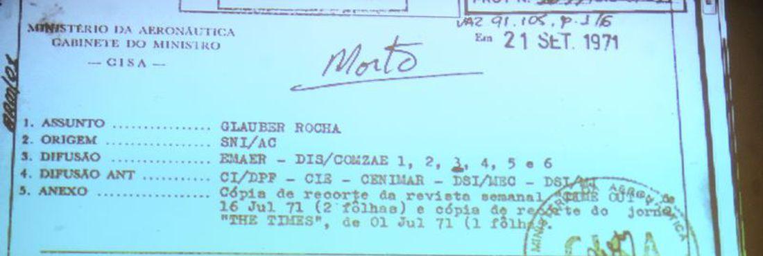 Comissão da Verdade divulga documento sobre Glauber Rocha