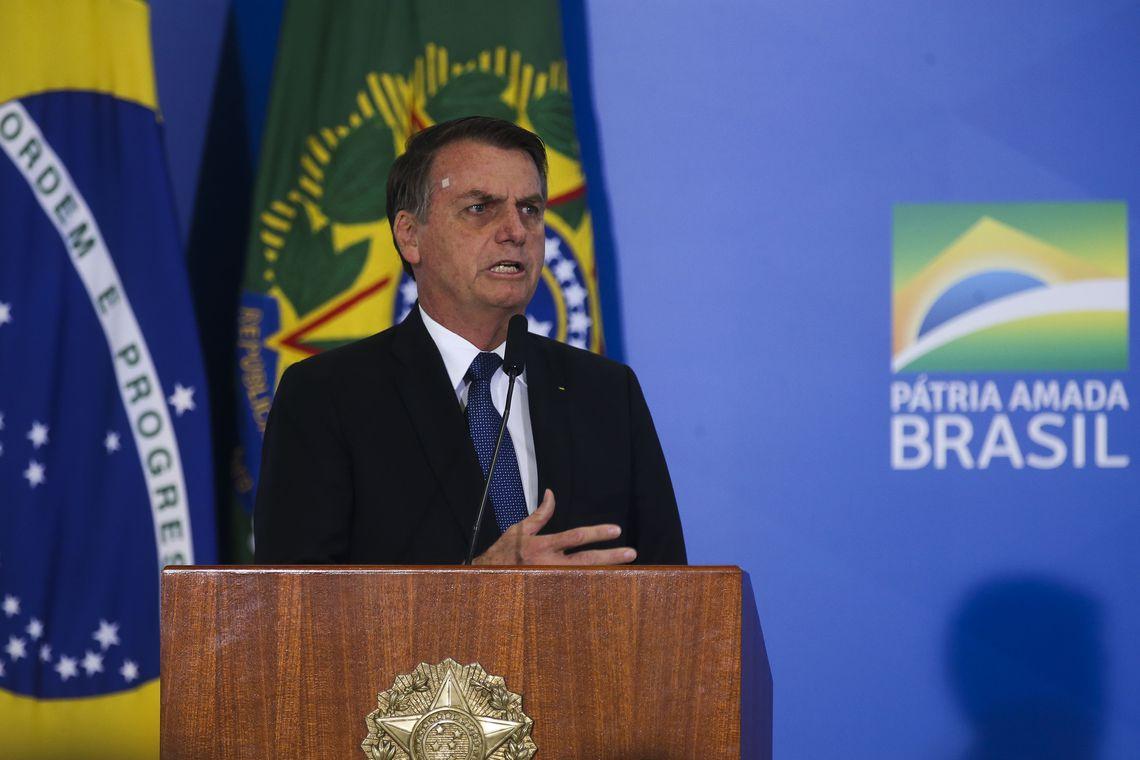 O presidente Jair Bolsonaro preside Solenidade de Lançamento de Linha de Crédito do BNDES para Organizações Filantrópicas.