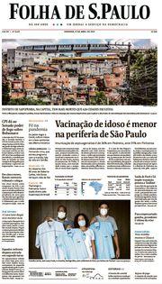 Capa do Jornal Folha de S. Paulo Edição 2021-04-11