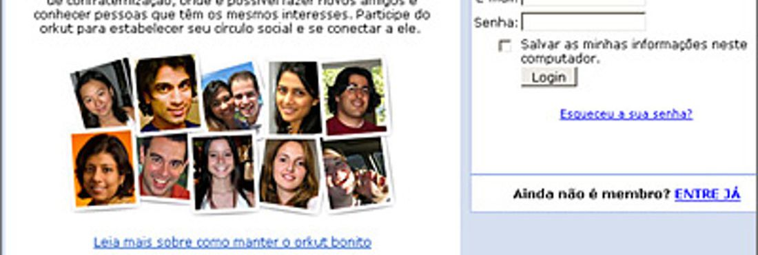 Tela antiga do Orkut