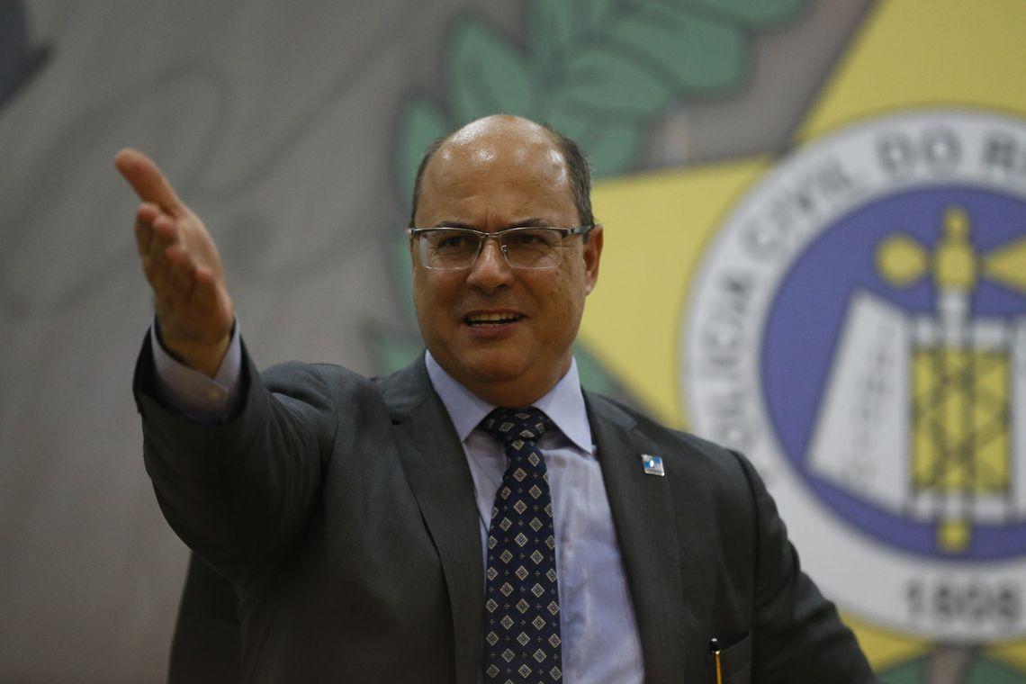 O governado do Rio de Janeiro, Wilson Witzel, durante cerimônia de posse do novo secretário de Estado de Polícia Civil, delegado Marcus Vinícius de Almeida Braga.