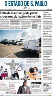 Capa do Jornal O Estado de S. Paulo Edição 2021-01-19