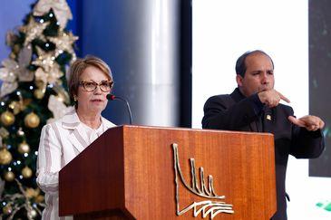 A ministra da Agricultura, Pecuária e Abastecimento, Tereza Cristina, durante a cerimônia de assinatura da medida provisória de regularização fundiária.