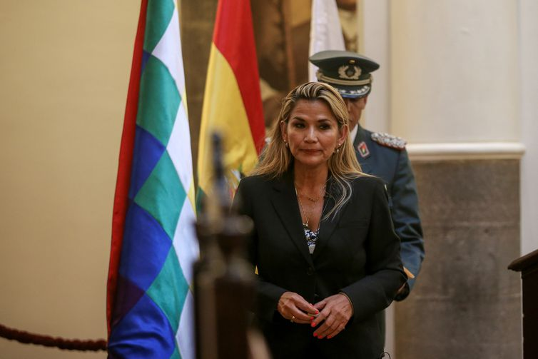 Bolivian Interim President Jeanine Anez attends a ceremony with military members at the Presidential Palace, in La Paz, Bolivia November 13, 2019. REUTERS/Luisa Gonzalez