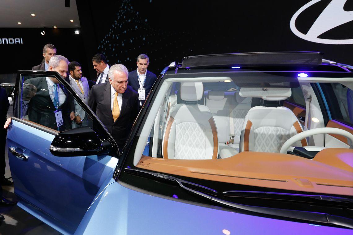 O presidente Michel Temer durante a abertura do Salão do Automóvel, em São Paulo.