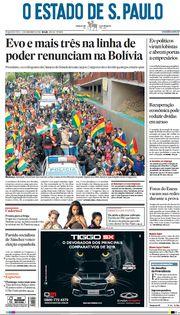 Capa do Jornal O Estado de S. Paulo Edição 2019-11-11