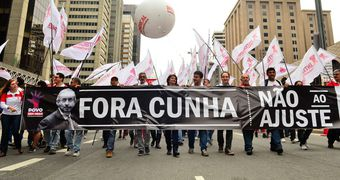 Representantes de 27 movimentos sociais ,com faixas e cartazes compareceram ao ato de lançamento da Frente Povo Sem Medo na Avenida Paulista