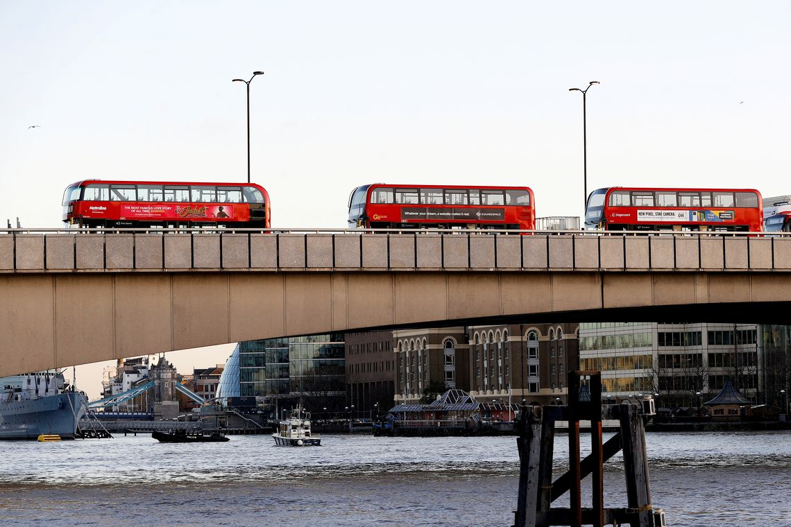Empty buses are pictured at London Bridge after a stabbing incident, in London, Britain, November 29, 2019. REUTERS/Peter Nicholls     TPX IMAGES OF THE DAY