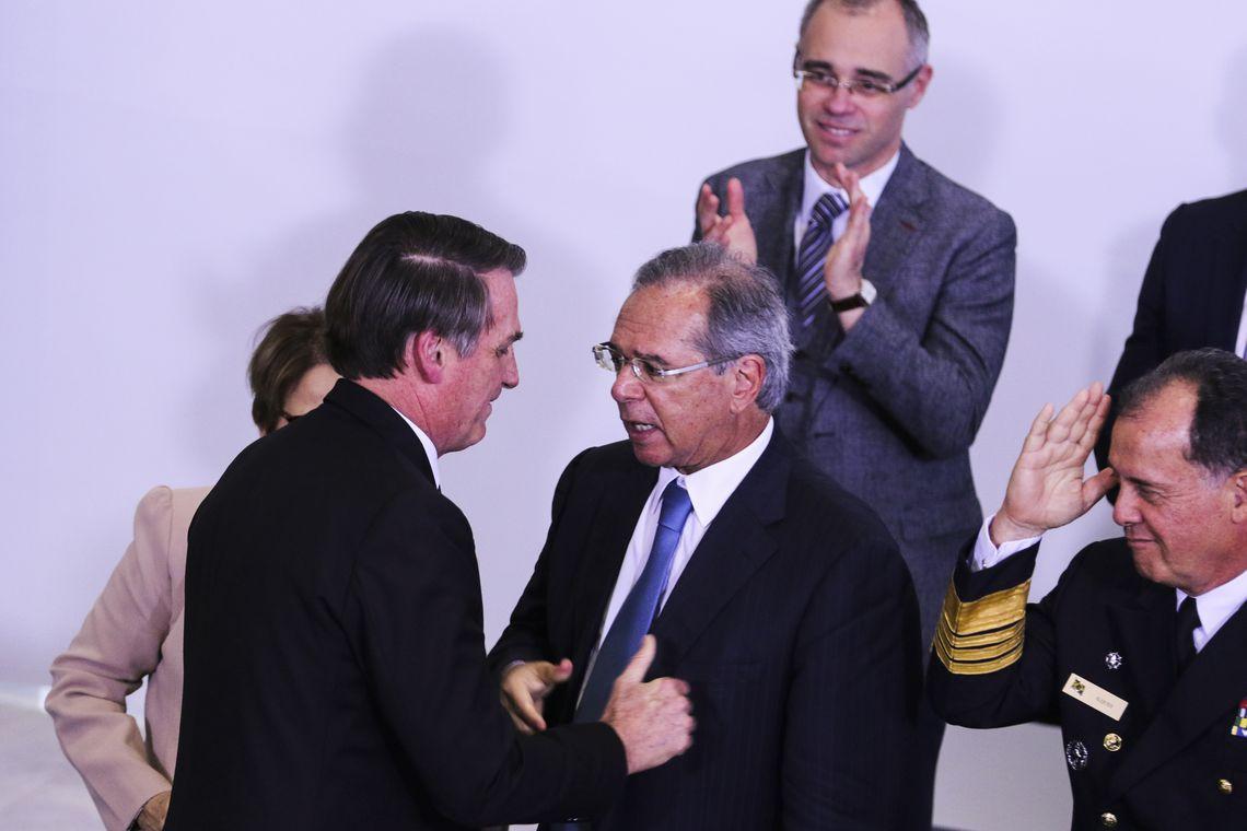 O presidente Jair Bolsonaro, participa da cerimônia alusiva aos 200 dias de governo, no  Palácio do Planalto.