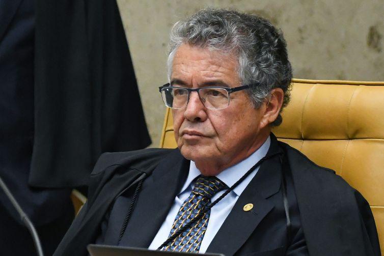 Ministro Marco Aurélio durante sessão extraordinária do STF.