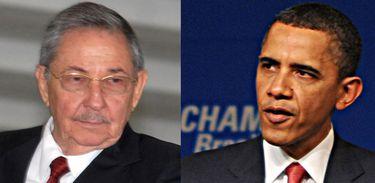 Os presidentes de Cuba, Raúl Castro, e dos Estados Unidos, Barack Obama