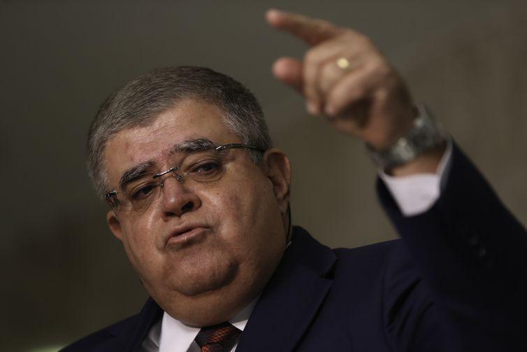 O ministro da Secretaria de Governo, Carlos Marun, fala à imprensa sobre as votações no Congresso e sobre o indiciamento do presidente Temer.