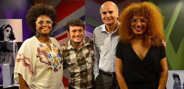 Ellen Oléria, Fefito e Mel Gonçalves recebem o médico Drauzio Varella na estreia do Estação Plural