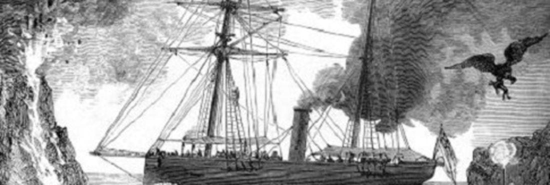 """Uma ilustração de """"Os Filhos do Capitão Grant"""" de Júlio Verne feita por Édouard Riou."""