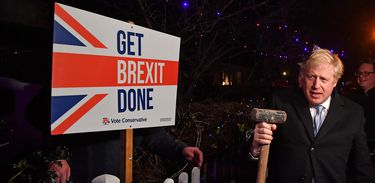 "Britain's Prime Minister and Conservative party leader Boris Johnson poses with a sledgehammer, after hammering a ""Get Brexit Done"" sign into the garden of a supporter, in South Benfleet, Britain December 11, 2019. Ben Stansall/Pool via REUTERS"