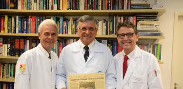 Edmar Maciel, Odorico Moraes e Marcelo Borges falam sobre tratamento de queimados com pele de tilápia.