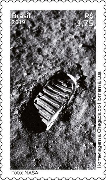 Selo dos Correios: Pegada do Homem na Lua