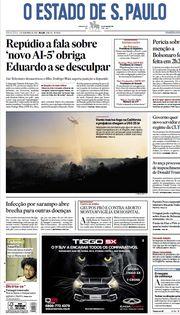 Capa do Jornal O Estado de S. Paulo Edição 2019-11-01