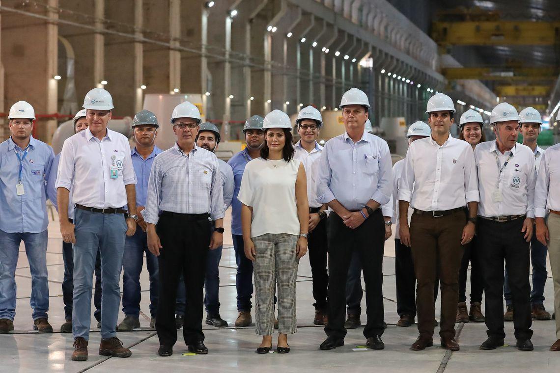 Presidente da República Jair Bolsonaro e a Primeira Dama Michelle Bolsonaro durante cerimônia de inauguração da Usina Hidrelétrica Belo Monte.