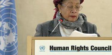 A ministra de Direitos Humanos do Brasil, Luislinda Valois, durante discurso na 34ª sessão do Conselho de Direitos Humanos das Nações Unidas, em Genebra, na Suíça