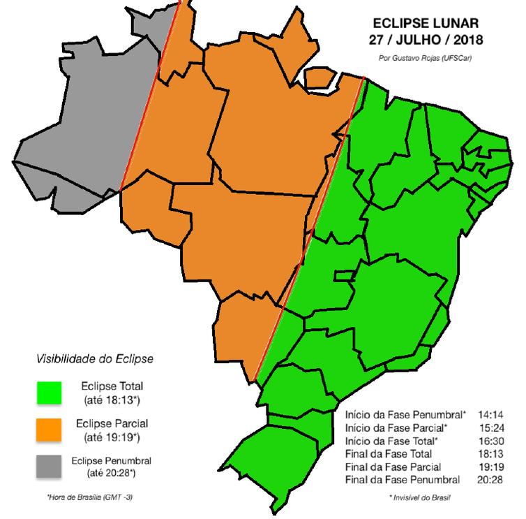 Horários do Eclipse lunar
