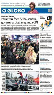 Capa do Jornal O Globo Edição 2021-04-13