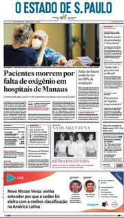 Capa do Jornal O Estado de S. Paulo Edição 2021-01-15